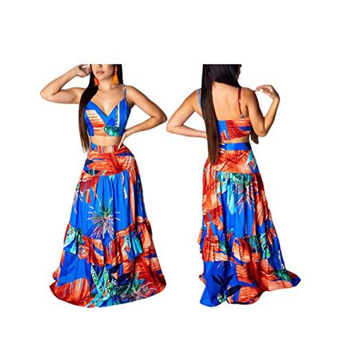 Women 2 Piece Print Set Lady Sleeveless V Neck Tops Long Skirt Hollow Out Dress Beach Set,Blue,XXL