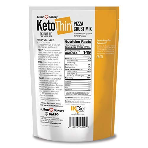 Keto Thin Pizza Crust Mix (Low Carb | Gluten-Free | Grain-Free) (Makes One 14'' Or Two 10'' Pizzas) (Single Pack)