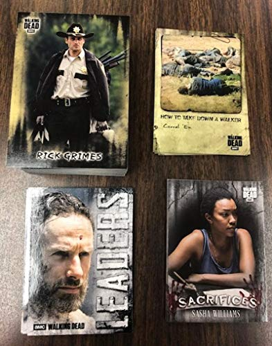 2018 Topps Walking Dead Hunters and the Hunted Complete Hand Collated Set 100 Cards plus 3 Insert Sets: includes Retail Exclusive Sacrifices Insert Set as well as How to Take Down a Walker and the Leaders Insert Set. Great Television Series collectible from the Hit AMC Show from Walking Dead Hunters and the Hunted