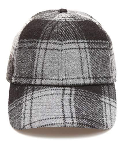 Plaid Ball Cap (MIRMARU Men's Wool Blend Baseball Cap with Adjustable Size Strap (Plaid Black,2236))