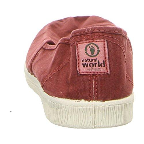 Natural World 615e-620 - Mocasines de tela para mujer burdeos enzimatico