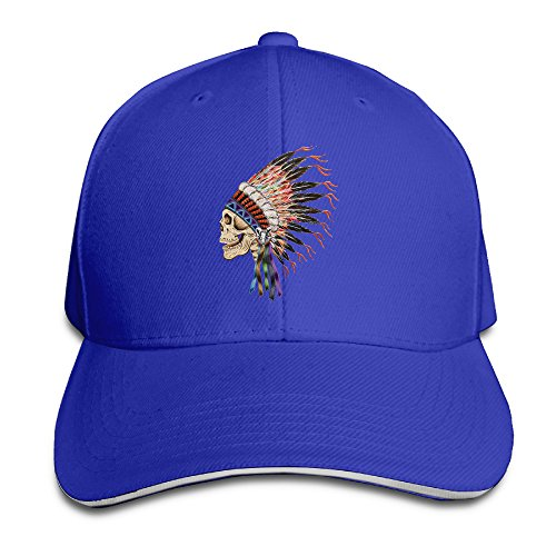 NUBIA Indian Headdress Skull Outdoor Cap Flex Fit Cap RoyalBlue