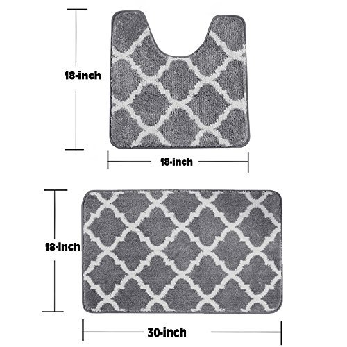 Fashion Dream Bath Rug Sets Non - Slip Toilet Rug Set -Two Pieces Of Grey Bathroom Carpet 18 x 30 Inches And 18 x 18 Inches - Two Piece Toilet Set
