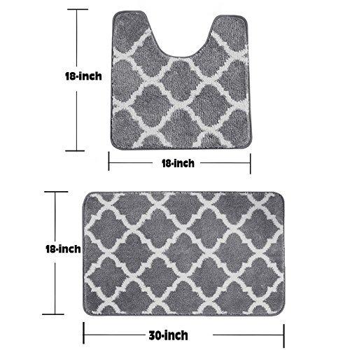 Fashion Dream Bath Rug Sets Non - Slip - Light Gray Bathroom Rugs