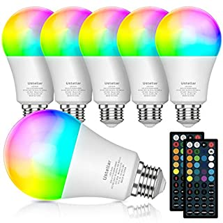 RGB LED Light Bulb with Remote, Color Changing Light Bulb, 900LM Dimmable 9W E26 Screw Base RGBW, Mood Light Flood Light Bulb - 20 Color 6 Modes - for Halloween (6 Pack)