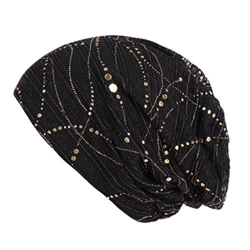 Yezijin Women Solid Bead Muslim Hat Stretch Retro Turban Hat Head Wrap Cap (Black) ()