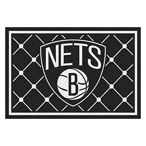 FANMATS NBA Brooklyn Nets Nylon Face 5X8 Plush Rug by Fanmats