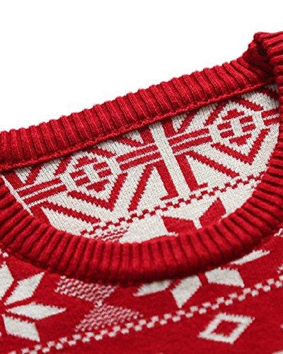 Cuello Manga Hombre Con Étnico Redondo Para Suéter Rojo Estilo Larga w6qXBnx6Tg