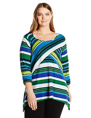 Notations 3/4 Sleeve - Notations Women's Plus Size 3/4 Ruched Sleeve Printed Sharkbite Knit Top, Green Finishline 3X