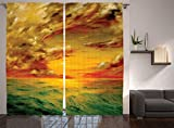 Ambesonne Lakehouse Decor Collection, Mystical View of the Sunset Off the Coast of California Slightly Wavy Sea Oil Painting, Living Room Bedroom Curtain 2 Panels Set, 108 X 90 Inches, Orange Yellow