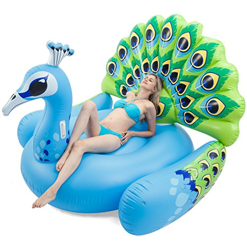 JOYIN Giant Inflatable Peacock Pool Float, Fun Beach Floaties, Swim Party Toys, Pool Island, Summer Pool Raft Lounge for Adults & Kids - Big Inflatable