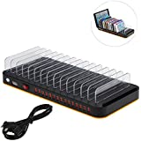 KKmoon 80W 15-Port Adjustable Dividers USB Charger Smart Charging Station Dock Multi Device Desktop Organizer Hub Stand with Intelligent IC Auto Detect Tech