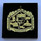 Washington D.C. Brass Ornament Black Leatherette Gift Box