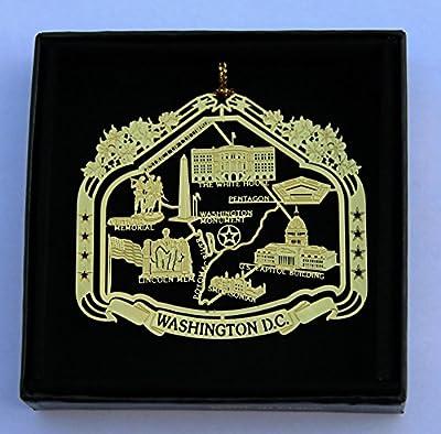 Washington D.C. Brass Ornament Black Leatherette Gift Box