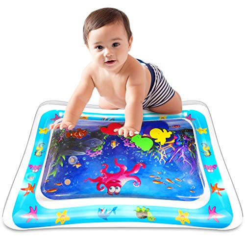 Anynepew Baby & Infant Toys Tummy Time Water Play Mat, Inflatable Sensory Newborn Toys, Perfect Baby Toy for 3 4 6 9 to 12 Months Old Boy or Girl Gift, 6 Floating Toys [26