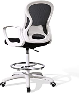 Ergonomic Drafting Chair for Standing Desk, Tall Office Chair with Lumbar Support, Mid Back Mesh Stool, High Desk Chair with Armrest, Bar Chair with Footrest, Adjustable Height Computer Chair (White)