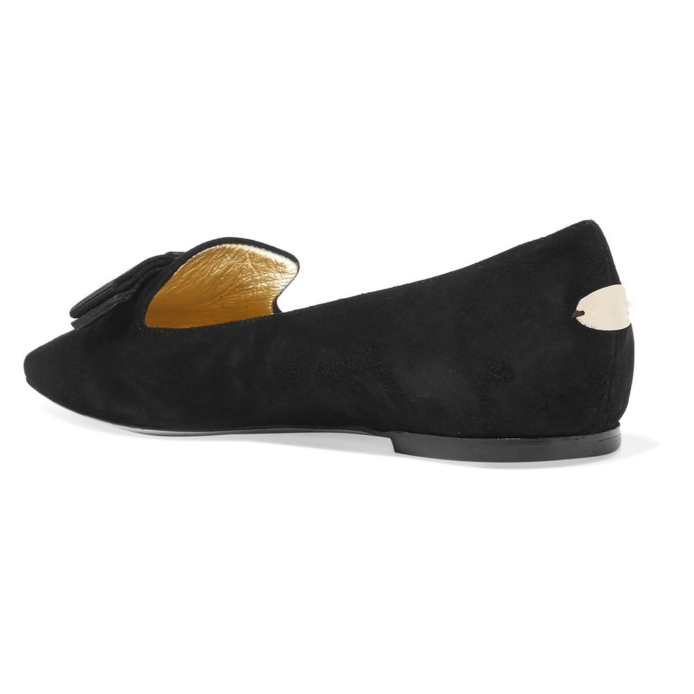 Eldof Women's Galala Point-Toe Patent-Leather Point-Toe Galala Flats Office Off-Duty Flats Shoes Grosgrain Bow Shoes B0799GY1JP 11.5 B(M) US|Black-suede 5cd5c5