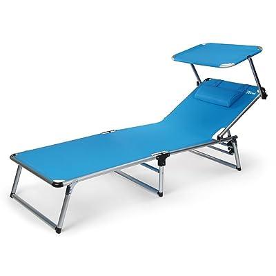 BERTONI Rambla Lit pliant en textilène avec pare-soleil Lit de plage et de piscine, Bleu ciel, Taille unique