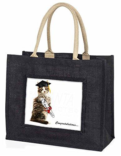 Advanta–Große Einkaufstasche Graduation Cat Congratulations 2016 Große Einkaufstasche Weihnachtsgeschenk Idee, Jute, schwarz, 42x 34,5x 2cm