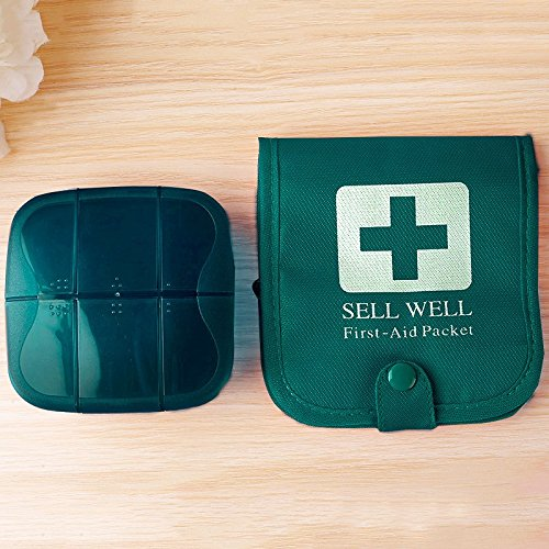 Dual-Use 2-in-1 Bag with Pill Organizer, Ultralight Case, Mini First Aid Kit/Packet, 7 Compartments to Hold Vitamin, Fish Oil, Supplement, Prescription and Medication, 2 Pockets for Medical Supplies by Feiyue