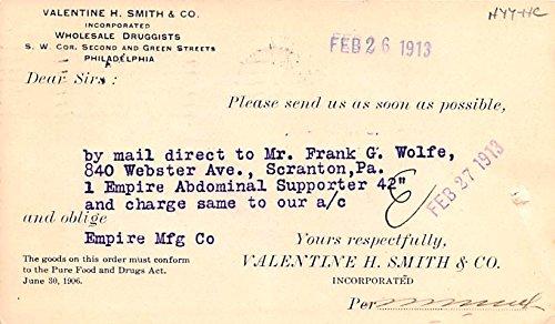 Medicine Advertising Old Vintage Antique Post Card Valentine H Smith & Co 1913