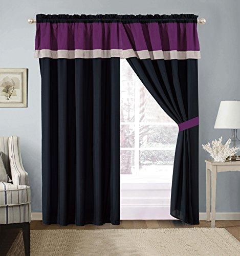 Modern Black, White, Purple Hampton Window Curtain / Drape Set with Sheer Backing 120-by-84-Inch