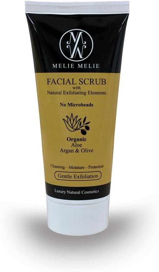 Exfoliante facial natural, 100ml, con argán y almendras, contribuye a reducir las cicatrices del acné, las imperfecciones y las arrugas, consigue una hidratación profunda,deja la piel fresca, limpia y revitalizada, puede utilizarse con un cepillo facial