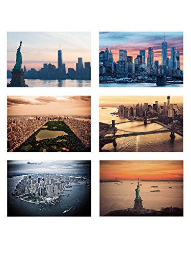 New York Postcards Set of 30 Styles. Collectible Edition of 4x6 Post Cards of NY Landmarks, Skylines and Aerial Views. Made in USA