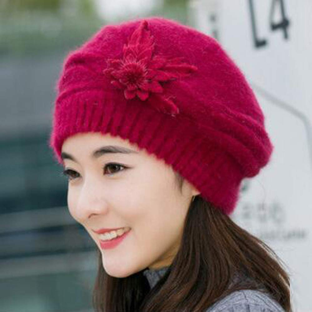 Women Wool Knitted Beanie Beret Hat,Crytech Elegant Soft Stretchy Flower Winter Warm Knit Newsboy Hat French Style Korean Painter Cap Autumn Cold Weather Snow Ski Caps for Ladies Girls