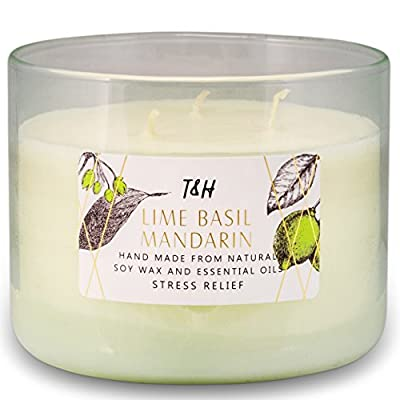 T&H Stress Relief Aromatherapy Candles All Natural Soy Wax and Essential Oils Long Lasting