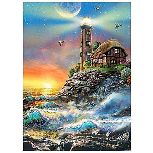 Lighthouse Numbers - My First Paint Numbering Kit, 16''X20''Inches,Moon Ocean Lighthouse