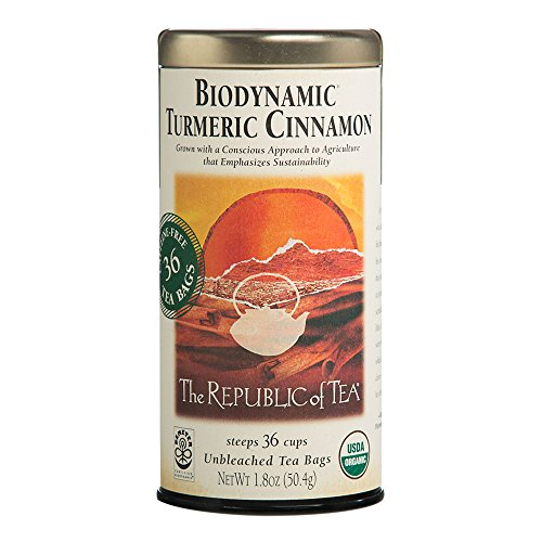 Tea Biodynamic - The Republic of Tea Biodynamic Turmeric Cinnamon Herbal Tea, Premium 100% Biodynamic Blend (36 Tea Bags)