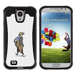 Suave TPU Caso Carcasa de Caucho Funda para Samsung Galaxy S4 I9500 / Professor Grey Suit Bald Kids School / STRONG