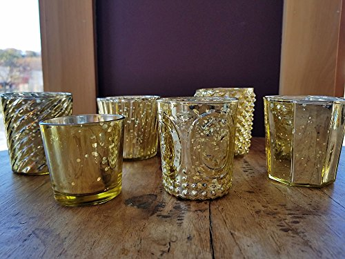 Luna Bazaar Vintage Romance Mercury Glass Candle Holders (Gold, Set of 6) - For Use with Tea Lights - For Home Decor, Parties, and Wedding Decorations - Mercury Glass Votive Holders