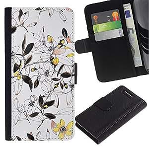 For Sony Xperia Z1 Compact / Z1 Mini / D5503,S-type® Floral Yellow Ink Wallpaper Vintage Vignette - Dibujo PU billetera de cuero Funda Case Caso de la piel de la bolsa protectora