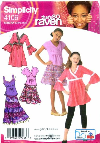 Simplicity 4106 Sewing Pattern Girls Tiered Skirt Dress Top Size 8 - 16