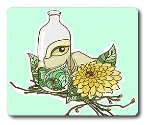 iCustomonline Bottle Eye and Flower Mouse Pad Oblong Shaped