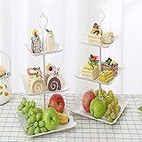 Candora 2 sets Plastic Imitation Ceramics 3 Tier Cake Stand 6''&8''&10'' Party Food Server Display Set Dessert Stand Slate Serving Set for Sweet time