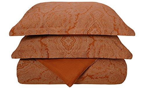 Superior Cotton Blend 600 Thread Count Wrinkle Resistant 3-Piece Full/Queen Duvet Cover Set Paisley Pumpkin (Paisley Cover Italian Duvet)