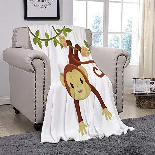 YOLIYANA Light Weight Fleece Throw Blanket/Nursery,Cute Cartoon Monkey Hanging on Liana Playful Safari Character Cartoon Mascot,Brown Green Pink/for Couch Bed Sofa for Adults Teen Girls Boys