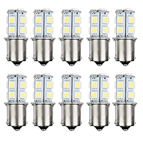AUTOSAVER88 10pcs 1156 Super Bright White LED Bulbs for Replacement of Turn Signal Light Car Back up Parking Tail Light BA15S 13-SMD 5050 6500K 12V 1129 1141 1159 (1156 Led Bulb Replacement)
