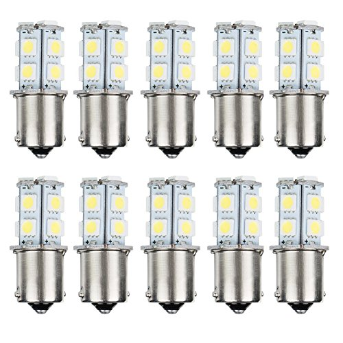 AUTOSAVER88 10pcs 1156 Super Bright White LED Bulbs for Replacement of Turn Signal Light Car Back up Parking Tail Light BA15S 13-SMD 5050 6500K 12V 1129 1141 1159 1259 (Bulbs Light Super White)