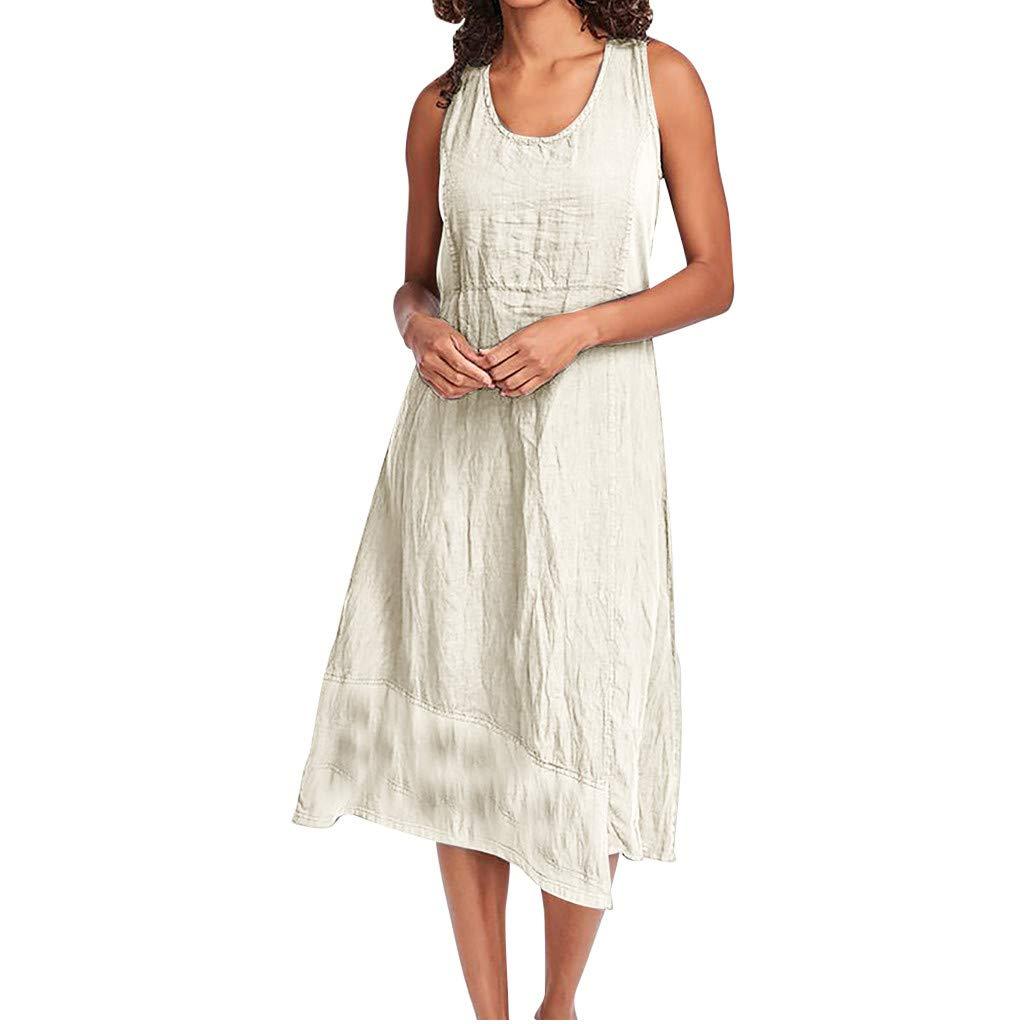 Woboke Fashion Women O-Neck Linen Solid Sleeveless Loose Casual Side Slit Mini Dress Beige
