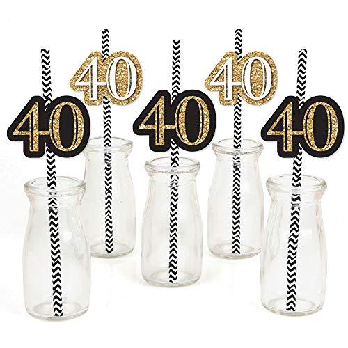 Adult 40th Birthday - Gold - Paper Straw