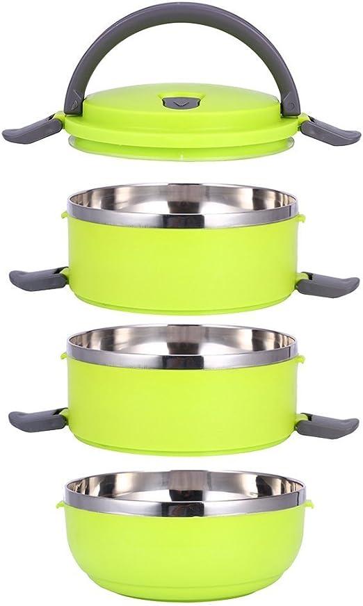 Portapranzo impilabile con manico Contenitore contenitore interno in acciaio inox serbatoio cibo Bento Box 3 strati Blu