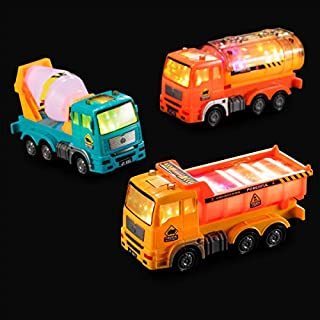 Zetz Brands Construction Vehicle Set of 3 with 3D Lights and Sounds - Toy Dump Truck, Cement Truck, Oil Truck - Battery Operated Bump & Go Set