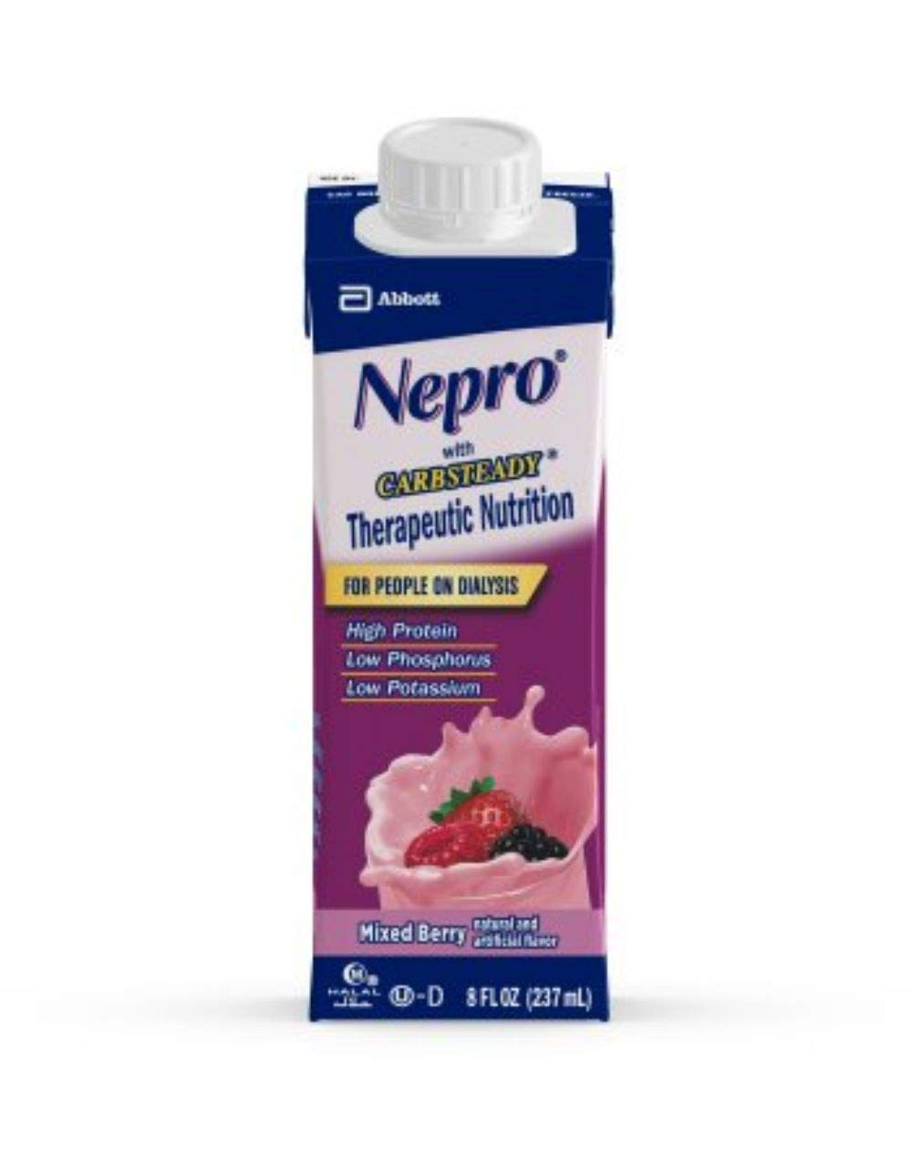 Nepro Complete Nutrition with Carb Steady Mixed Berry Liquid  8oz Reclosable Containers (Case of 24) by Abbott Nutrition (Image #1)