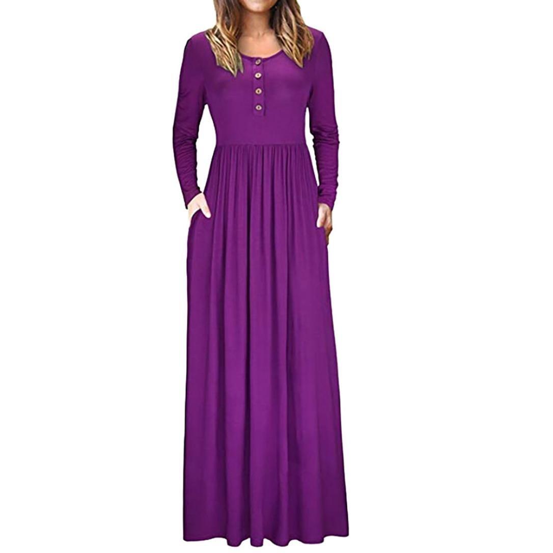 New Tunics for Women Dress, Sttech1 Women Autumn O Neck Casual Solid Maxi Dress Loose Short Sleeve Floor Length Dress Pocket Button Dress (S, Purple)