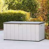 Deluxe XXL Deck Box 150 Gallon Resin Outdoor Storage for Patio Garden Furniture Container Taupe