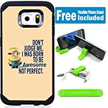 Samsung Galaxy Note 5 Hybrid Armor Defender Case Cover with Flexible Phone Stand - Minions Don't Judge